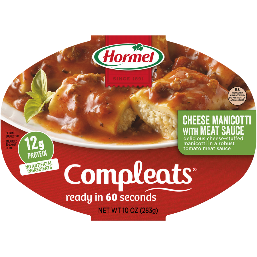 HORMEL<sup>&reg;</sup> COMPLEATS<sup>&reg;</sup> Cheese Manicotti with Meat Sauce