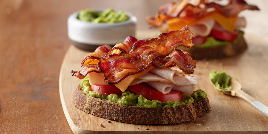 Turkey-Bacon and Guacamole Open Faced Sandwich