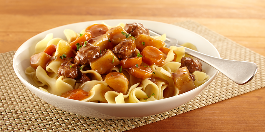 Beef Stew over Noodles